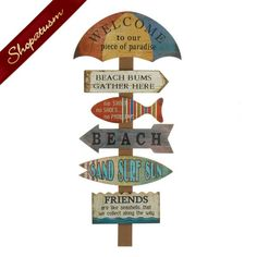 Welcome To The Beach Wood Wall Decor Wooden Sign Vintage Beach Signs, Beach Signs Wooden, Beach Wood, Driftwood Beach, Beach Wall Decor, Wooden Wall Decor, Wood Wall, Mdf Wood, Beach Cottage Style