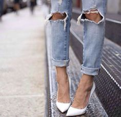 We're giving the laidback look an update and matching distressed jeans with super-chic heels  #Missguided #Fashion #Denim #Heels