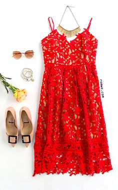 22765fb3ef Party Dress - Red Hollow Out Fit  amp  Flare Lace Cami Dress with pink heels