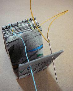 DIY Coptic Binding (Paired Needles) handbound book #tutorial by Alisa Golden | Making Handmade Books http://www.bookdepository.com/Making-Handmade-Books-Alisa-Golden/9781600595875/?a_aid=liberalsprinkles