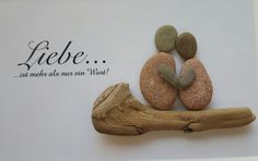 *Liebe ist..... * Bild aus Kieselsteinen von TAMIKRA auf DaWanda.com Rock Sculpture, Rock Design, Stone Painting, Diy Painting, Pebble Art, Wood Crafts, Stone Crafts, Rock Art, Pebble Pictures