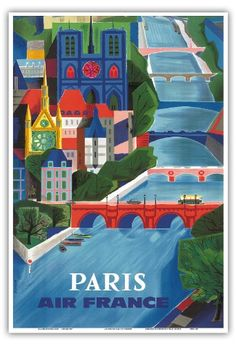Air France - Paris, France - The Seine River - Vintage Airline Travel Poster by Jean Vernier c.1953 - Master Art Print - 9in x 12in Pacifica Island Art http://www.amazon.co.uk/dp/B00CABICI4/ref=cm_sw_r_pi_dp_f6WBub1AZ0NJG