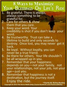 MAXIMIZING YOUR BLESSINGS ON LIFE'S RIDE