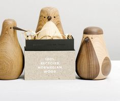 Packaging by Re Turned. Sweet idea, using unwanted wood (i.e a table-leg or armrest) Lars Beller Fjetland creates small bird woodcraft.