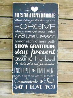 Dr John Gottman's rules. RULES FOR A HAPPY MARRIAGE - Typography Wood Sign:  Wooden Wall Art Quote Decor by 13pumpkins on Etsy