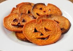 Jack-o-lantern sweet potato fries.