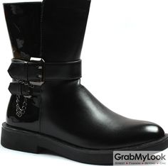 GrabMyLook Black Leather Punk Rock Metal Buckle Straps Thick Sole Military Style Mens Boots Shoes