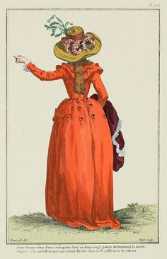 Young woman dressed in a summer redingote in red wool trimmed with fashionable buttons, chignon à la conseillere with a steel coulant:* straw hat trimmed with ribbons. (1787)