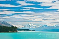 Interesting clouds over Mt Cook / Aoraki, Mt Tasman & Lake Pukaki from Highway 8, Summers Day, South Island, New Zealand
