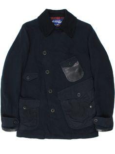 Navy blue | Technical Pea Coat by Junya Watanabe | Nautical jacket