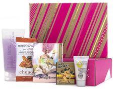 December Birchbox! Juice Beauty CC cream, Juicy Couture perfume, Nick Chavez Advance Volume Shampoo, theBalm Hot Mama blush, Chuao Chocolatier ChocoPod in Maple Bacon.