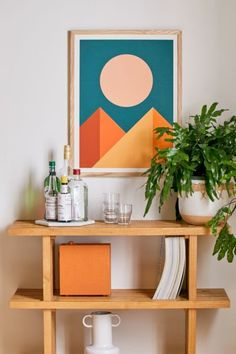 Shop The Old Art Studio Geometric Mountains Art Print at Urban Outfitters today. We carry all the latest styles, colors and brands for you to choose from right here. Geometric Painting, Geometric Wall Art, Colorful Abstract Art, Geometric Mountain, Art Ancien, Wood Molding, Mountain Art, Mountain Paintings, Flash Art