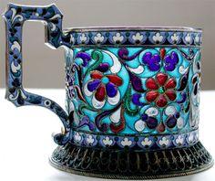 Russian Plique-a-Jour Silver Tea Glass Hoder 1880s Moscow