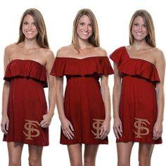 Florida State Seminoles (FSU) Ladies Convertible Ruffle Sundress – Garnet