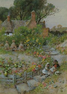William Stephen Coleman – Cottage Garden In Summer – Handstickerei Storybook Cottage, Cottage Art, Paintings I Love, Beautiful Paintings, English Country Cottages, Garden Art, Home Art, Illustration Art, Art Gallery