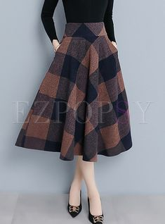 Style Color-blocked Plaid Woolen Big Hem Skirt - Fashion For Women Skirt Outfits, Dress Skirt, Cute Outfits, Tulip Skirt, Tartan Skirt Outfit, Pleated Skirt, Casual Outfits, Peplum Dresses, Swag Dress