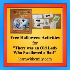 "Free Halloween Activities to go with the book, ""There Was an Old Lady who Swallowed a Bat!"" My children loved the sensory bin, matching, and feeding the Old Lady activities! These activities are great for homeschool or in an  preschool or primary grade setting. Work on find motor skills and sequencing while having fun."