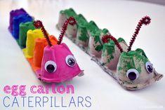 Egg Carton Caterpillar – Balancing Home – Basteln Kinder – Home crafts Kids Crafts, Craft Projects For Kids, Summer Crafts, Toddler Crafts, Preschool Crafts, Diy For Kids, Arts And Crafts, Craft Ideas, Craft Work
