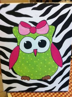 girls owl canvases | Zebra Print Girl Owl Canvas Art by WildChildDesignz on Etsy