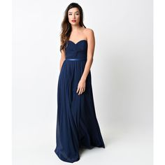 Navy Chiffon Strapless Sweetheart Corset Long Gown (€89) ❤ liked on Polyvore featuring dresses, gowns, blue, white formal gowns, long bridesmaid dresses, navy blue dress, navy blue ball gown and navy bridesmaid dresses