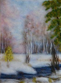 `Весенний пейзаж`. Картина из шерсти/ Наталия Шариф.