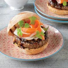 Hoisin Pork Burgers with Pickled Vegetables Recipe
