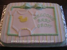 Homemade Baby Shower Cake: I was asked to make a neutral baby shower cake for a friend from church. I poured over cake books that I have and online looking for the perfect inspiration.