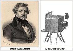 """Daguerre em 1839, assume o protagonismo do """"inicio"""" da fotografia através de Daguerriotipos (primeiros exemplares da primeira fotografia). Reconhecido pelo descobrimento da câmara escura. Tinha um grande problema, não era acessível a toda a gente (elitista) pois os custos de produção fotografica eram muito elevados. Nesta altura, só as pessoas especializadas tiravam fotografias (não era comum como hoje em dia)."""