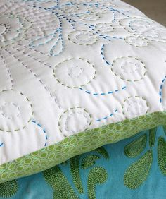 Free form hand quilting with different colours - starting with a pillow case is a great idea!