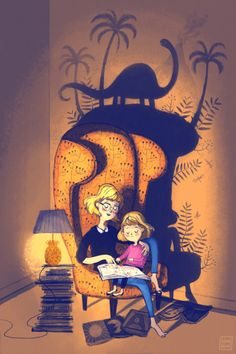 Reading with mom. Kissi kissi #Illustration #Reading..