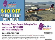 $10 Off a front seat upgrade when booking a Grand Canyon helicopter tour with Papillon Heliopters