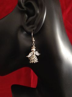 Silver Angel Earrings with a Lacy and delicate style for Holidays or anytime and a great gift idea by WirednStrung on Etsy