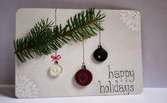 carte de vœux décorée de boutons et branchette de sapin