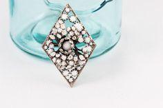 Vintage Alice Caviness white milk glass and enamel diamond shaped brooch. 1950s costume jewelry brooch