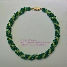 Bracelet of beaded spiral rope in green colors. Free detailed tutorial.