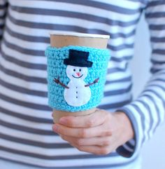 HOLIDAY GIFTS Snowman coffee cup sleeve by The by thecozyproject, $17.00