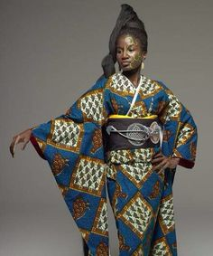 *African Fashion * African Beauty * African Style * African Grace*: Japanese Kimono with an African Twist - By Serge Mouangue / Cameroon African Textiles, African Fabric, African Dress, African Prints, African Style, African Wear, Afro, Stella Jean, African Beauty