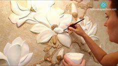 Master class the flower bas-relief of gypsum plaster DIY Clay Wall Art, 3d Wall Art, Mural Art, Clay Art, Plaster Crafts, Plaster Art, Clay Crafts, Sculpture Painting, Wall Sculptures