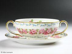 Limoges GDA Pink Rose & Blue Floret Double Handle Cup & Saucer