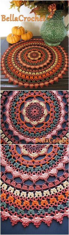 Crochet Squares Granny Design Crochet Autumn Spice Mandala Doily - 60 Free Crochet Mandala Patterns - Page 3 of 12 - DIY Crochet Home, Crochet Crafts, Crochet Projects, Knit Crochet, Diy Crafts, Crochet Stitches, Autumn Crochet, Crotchet, Crochet Mandala Pattern