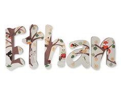 Bosque animales personalizado pintado a mano de vivero cartas vivero colgando de…