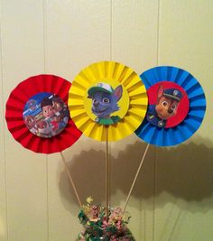 3 Paw Patrol inspired Party Centerpieces 1 set by AivanCreations