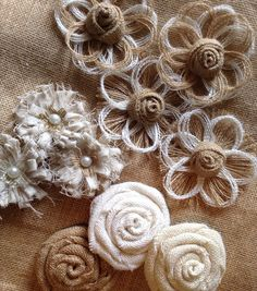 Burlap Flower Assortment Set of 10 Shabby Chic by resadavid