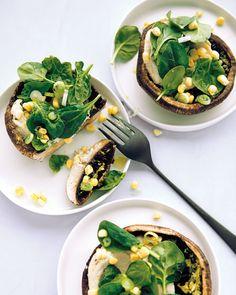 Marinated Mushroom Caps: Earthy mushrooms, fresh rosemary and corn, and lemon zest, pack plenty of flavor, Wholeliving.com #vegetarian #nocookrecipes