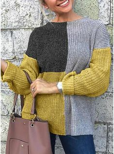 Women's Color Block Long Sleeve Pullover Sweater Jumper, Round Neck Black / Yellow S / M / L Casual Sweaters, Baby Sweaters, Sweaters For Women, Vogue Knitting, Baby Knitting, Knitted Baby, Scarf Knots, Crochet Shirt, Knit Fashion