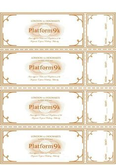 Platform 9 3/4 Ticket Printable / from I Do on a Dime / Round up by Busy Mom's Helper