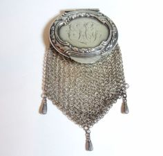 Antique Sterling Silver Mesh Coin Purse, Engraved Repousse Top, Pendant, Chatelaine, Exclusively on Ruby Lane