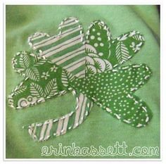 St Patrick's Day shamrock using heart shapes cut with a Cricut! Must try cutting fabric with my Cricut!