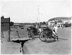 Rickshaw taxis at Hardinge Street bus stance, Nairobi / Kenya ~ 1945 Kenya Nairobi, Mombasa, My Ancestors, East Africa, Historical Photos, Cannon, World War Ii, Colonial, Safari