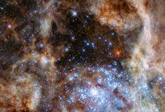 """Uma equipe internacional de astrônomos usou as capacidades únicas do telescópio espacial Hubble para revelar uma numerosa população de estrelas """"monstro"""" na Grande Nuvem de Magalhães, galáxi…"""